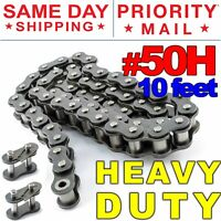 #50H Heavy Duty Roller Chain x 10 feet + 2 Connecting Link + Same Day Shipping