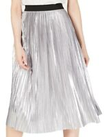 INC Womens Midi Skirt Silver Size XL Elastic Waist Metallic Foil Pleated $79 075