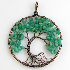 Natural Amazon Chip Beads Bent Tree of Life Copper Round Pendant Fit Necklace