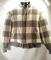 VINTAGE-Woolrich Jacket Coat Men's Size L Plaid Checks Gray Cream Sherpa Lining