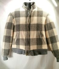VINTAGE-Woolrich Jacket Coat Men's Size L Plaid Checks Gray Cream Sherpa Lining