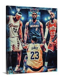LeBron James Canvas 16X20 Wall Art Mancave LA Cavs Miami Heat Lakers 23 King
