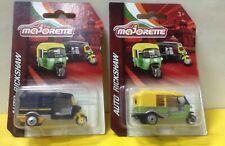 Majorette Tuk Tuk Auto Rickshaw India set 2 cars Green & Black Model Diecast