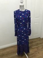 BNWT M&S Collection Blue Floral Print Waisted Midi Dress - UK Size 6