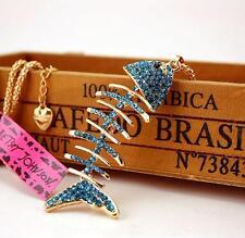 Jewelry Betsey Johnson Pendant Rhinestone Chain Women Gift Fish bones Necklaces