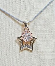 Silver Plated Multi Color Crystal CZ Flower Star 16 In Woman Necklace