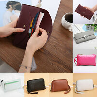 Fashion Womens Coin Holder Pouch Clutch Handbags Zipper PU Leather Purse Wallet