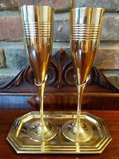 Champagne Flutes Pair of Two Elegant Art Deco Brass Calla Lily Barware Tray Box