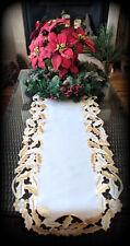"""Embroidered Dresser Scarf Doily Christmas Gold Mistletoe 34"""" Table Runner"""