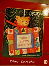 Friend 1998 Carlton Card Quilt Ornament Friendship is a Pattern Traced with Love