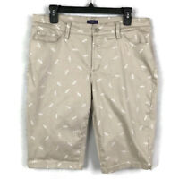 NYDJ Christy Dragonfly Stretch Bermuda Shorts Womens Size 12 Pockets Beige