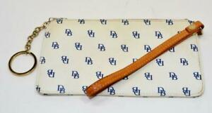"Authentic Dooney & Bourke White Blue Signature 7.5"" x 4 1/4"" Wristlet"