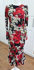 Dolce & Gabbana Poppy Daisy Floral Print Midi Dress Size IT 44/IT 46 RRP £1300