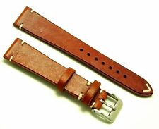 19mm Brown/White Genuine Leather Watch Strap Handmade Stainless Matte Buckle