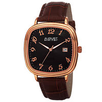 New Men's August Steiner AS8155RGBR Swiss Quartz Etched Dial Brown Leather Watch
