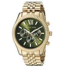 Michael Kors Lexington MK8446 Gold Green Dial Steel Chronograph Mens Watch