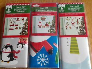 3 PACKAGES CHRISTMAS HOUSE SANTA HOLIDAY WALL DECORATIONS, CUTE, NIP