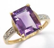 10KT YELLOW GOLD OCTAGON AMETHYST & DIAMOND RING   SIZE 7    R1257
