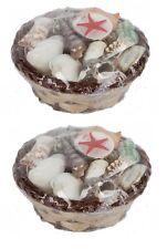2 x Assorted Sea Shell Collection In Mini Wicker Basket Bathroom Accessory 11cm