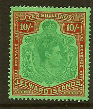 LEEWARD ISLANDS :1938 10/- bluish green & deep red/green SG 113 mint