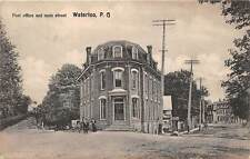 WATERLOO, QUEBEC, CANADA ~ POST OFFICE & MAIN STREET, PEOPLE ~ used 1909