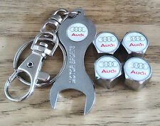 AUDI WHITE CHROME DUST VALVE CAPS SPANNER LIMITED ALL MODELS RETAIL PACK S LINE