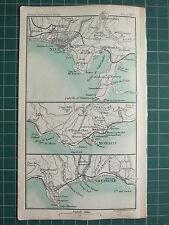 1904 mapa pequeño ~ ~ bonito alrededores plan ciudad Mónaco Mentone