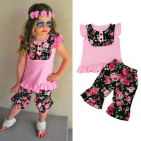Summer Toddler Kids Baby Girl Floral T-Shirt Tops+Pants Outfits Clothes 2PCS Set