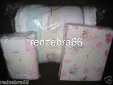 Pottery Barn Kids Bailey Ruffle Twin Quilt Sham Fairy Sheet Set Aqua Pink 5-pc