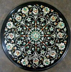Mother of Pearl Stones Inlaid Marble Table Top Black Patio Coffee Table 15 Inch