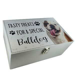 Bulldog Dog Treats Food Storage Container Holder Biscuits Barrel Wooden Toy Box