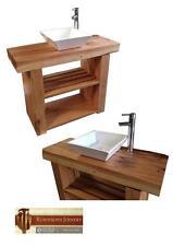 Vanity unit wash stand sink basin solid oak bespoke rustic finish square bowl