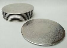 More details for silver plated round vintage placemats x 8 - 18 cm diameter