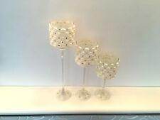 Crystal Votive Candle Holder  Hurricane Wedding Decor Centerpieces Box of 3