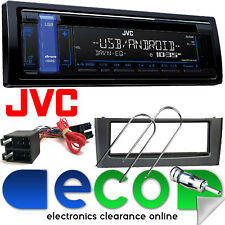 JVC mp3 CD RDS SINTONIZZATORE USB AUX IN AUTO STEREO & FIAT GRANDE PUNTO KIT fascia grigio