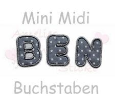 Applikation Bügelbild Aufnäher Name ABC Buchstabe Buchstabe Alphabet klein grau