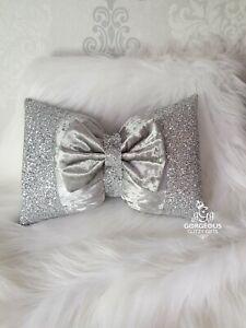 Bow Cushion. Silver glitter. Silver crushed velvet. 3D. Detachable bow. Glitz.