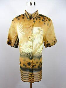 GLASER Women Vtg Summer Cotton Print Casual Short Sleeve Blouse Shirt sz 18 BE63