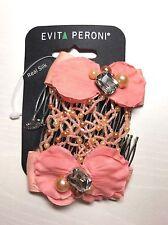 Evita Peroni Paris Pink Coral Orange Silk Pearl Jewel Beaded Double Hair Comb