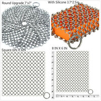 Cast Iron Cleaner Premium 316 Stainless Steel Chainmail Scrubber for Cast Iron
