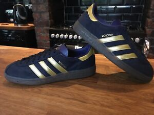 MENS BLUE, GOLD STRIPES ADIDAS MUNCHEN SPEZIAL UK 8 FANTASTIC USED CONDITION