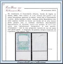 2002 Italia Repubblica Alti Valori € 1,55 Varietà n. 2216Ab RARO Cert. Diena **