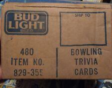 Vintage BUD LIGHT BOWLING PIN Wooden Beer Trivia cards bar pub 100+