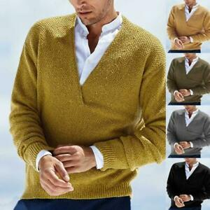 Fall Winter Mens Pullover V-Neck Long Sleeve Stretch Warm Knitted Sweater Tops D
