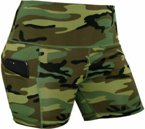 Camo Stretch Short Shorts Performance Stretch Snug Yoga Workout Leggings Pockets