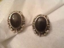 Vintage 925 Signed Clip On Earrings Black Onyx? Center Stones