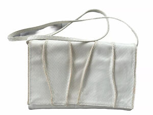 Vintage Sharif White Snakeskin Leather Clutch with Crossbody Strap