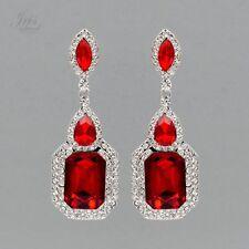 Rhodium Plated Ruby Red Crystal Rhinestone Wedding Drop Dangle Earrings 04832