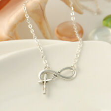 Women Pendant Silver Chain Choker Bib Cross Infinity Necklace Jewelry Charm Gift