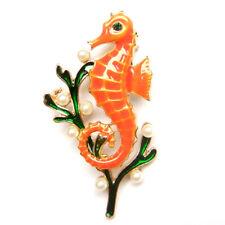 Beach Nautical Lovely Fun Suit Pin Brooch Orange Seahorse Green Seaweed Pearl